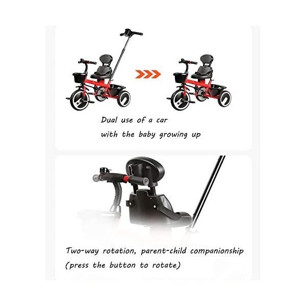 BGHKFF 2 In 1 Children's Hand Push Tricycle 1.5 To 5 Years 2-Point Safety Belt Children's Pedal Tricycle Rear Wheel With Brake Versatile Childrens Tricycles Maximum Weight 25 Kg,Red BGHKFF ★Material: Steel frame, suitable for children aged 1.5-5, maximum weight 25 kg ★ 2 in 1 multi-function: can be converted into baby strollers and tricycles. Remove the hand putter as a tricycle. ★Safety design: golden triangle structure, safe and stable; front wheel clutch, will not hit the baby's foot; 2 point seat belt; rear wheel double brake 2