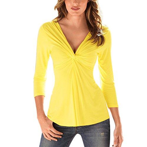 Landove camicetta scollo a v donna elegante t-shirt manica lunga casual sexy ufficio blusa pullover top tinta unita magliette slim fit camicia nero bianco giallo