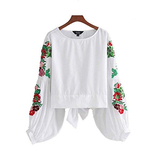 Jianyin Süße, Floraler Stickerei Weiße Hemden Laterne Hülse zurück Bow Tie Blusen Damen Sommer Marke Tops Blusas (Plaid Shirt Gewebt Patchwork)