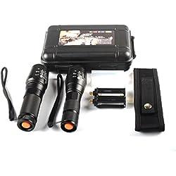 Tefamore 2pc Linterna Sombra Halcón Tactical X800 LED G700 De Grado Militar Antorcha de la Lámpara + Caja (A)