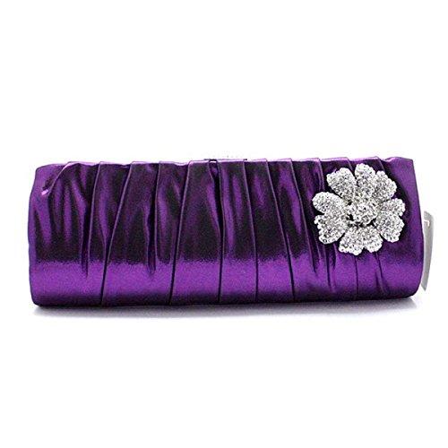 Lady Bag Cena Cosmetici Di Telefonia Mobile Del Sacchetto Della Signora Frizione Della Borsa Di Seta Fogliame Signore Purple