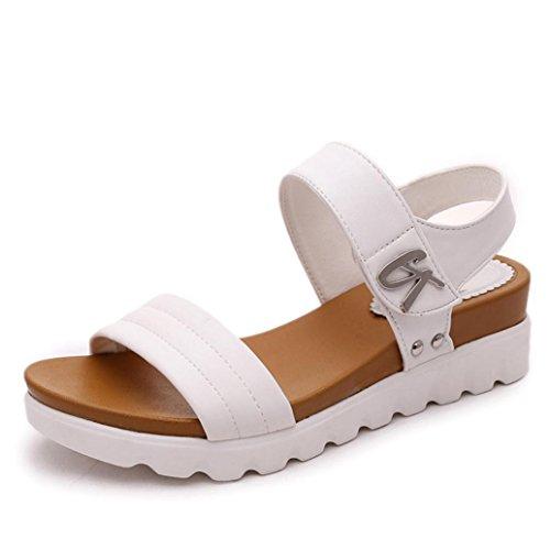 Elecenty Sandalen Damen Schuhe,Sommerschuhe Hoch Absatz Schuh Platform Plateau Shoes Sandaletten Frauen Elegante Bequem Offene Westernabsatz Freizeitschuhe Runder Zeh Strandschuhe (40, Weiß) (Wedge Runde Mid Zehe)