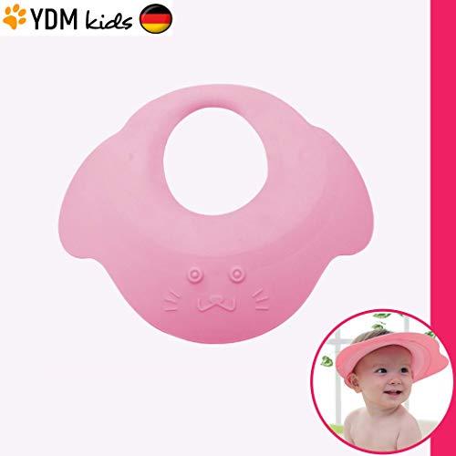 Kinder Shampoo Schutz - Haare waschen ohne Tränen, für 0 - 9 Jahre, zum Überstülpen, 100% wasserdicht, Haarwaschhilfe mit Augenschutz und Ohrenschutz, elastisches Material, zertifiziert pink -
