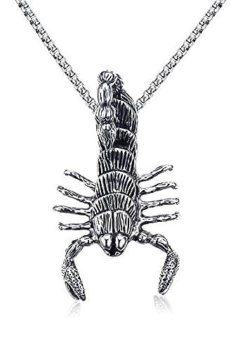 Vnox Collier pendentif personnalisé en acier inoxydable Scorpion Animal Charm Punk Biker Gothic Jewelry