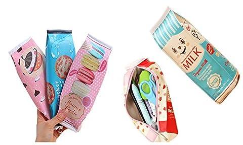 5Packs PU souple mignon Lait Cracker étanche Pen Holder Coque pièce de monnaie de stockage Cosmétique Sac Multicolour A