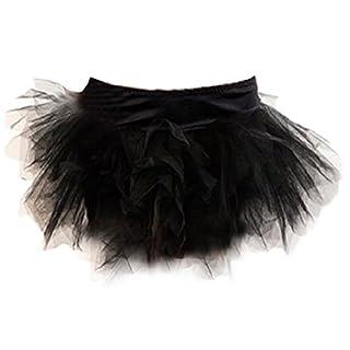 Autek Frauen Tu Tu Rock Burlesque Kostüm Size S-2XL Deluxe Layered Tutu Damen Abendkleid Dress (M, black)