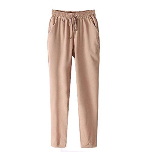 Gemini _ Mall® da donna con elastico in vita pantaloni da donna pantaloni su tutta la lunghezza Grey