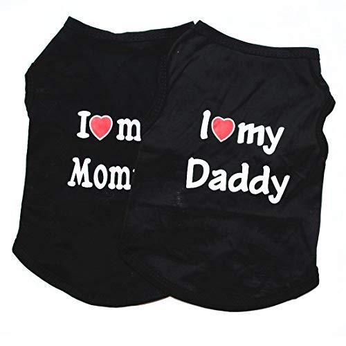 Hunde-Shirts, Hunde-T-Shirts, Haustier-Shirts, Welpen, Hundeweste, Haustierkleidung, weiblich, männlich, klein, 2 Stück, M: Length:30cm/ Bust:44cm, schwarz (Mommy, Daddy Und Baby Kostüme)