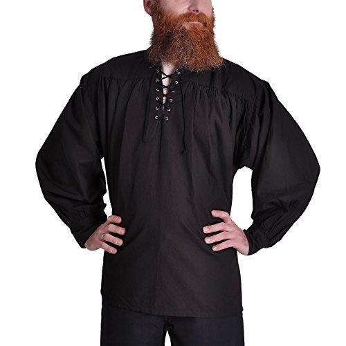 Mittelalter Piratenhemd mit Stehkragen, schwarz, Größe (Piraten Hemd Herren)