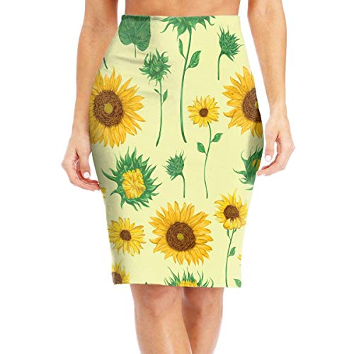 lears Flying XIE Sunflowers Women's Casual High Waist Bodycon Pencil Skirts Printed Party Skirt,2XL -