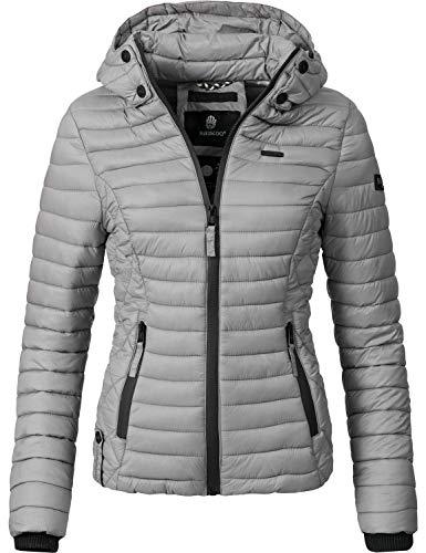 Marikoo Damen Übergangs-Jacke Steppjacke Samtpfote Grau Gr. XL