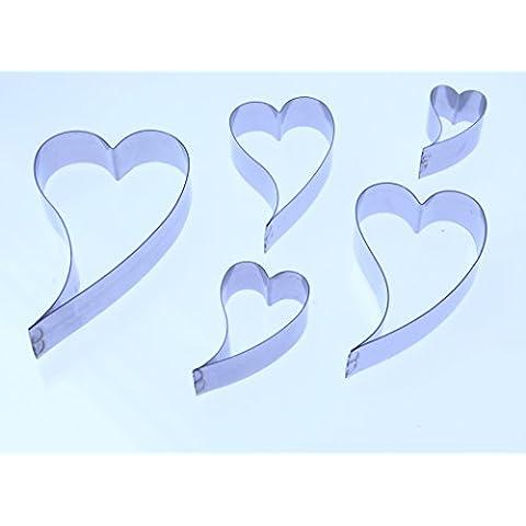 Con curvas corazón (curvas Wonky)–Cortadores de acero inoxidable Sugarcraft–varios tamaños disponibles–Valle cortador Company–fondant, San Valentín Decoración de Pasteles, Fimo, Polímero Y Metal precioso arcilla, acero inoxidable, Pack of 5 containing all