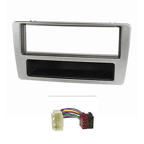 tomzz Audio 2417-002 Radioblende Set passend für Honda Civic Bj.2001-2006 manuelle Klimaanlage Silber mit Radioadapter ISO