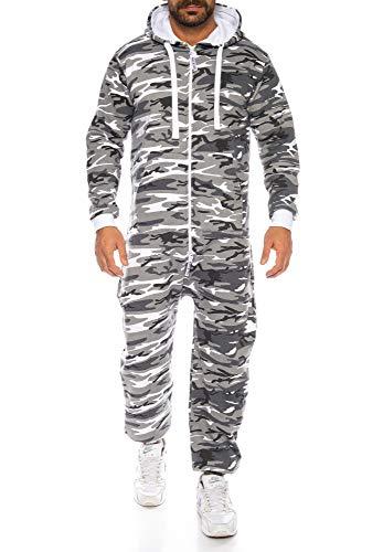 Raff & Taff Herren Jumpsuit Overall Trainingsanzug Fitnessbekleidung Onesie Ganzkörperanzug Basic und Schlicht (Metro, 3XL)