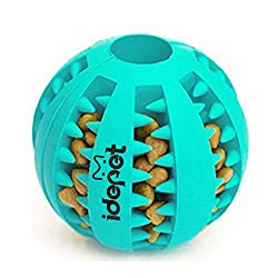 Idepet Dog Toy Ball, Nontoxic Bite Resistant Toy Ball for Pet Dogs Puppy Cat, Dog Food Treat Feeder Tooth Cleaning Ball,Dog Pet Chew Tooth Cleaning Ball Pet Exercise Game Ball IQ Training ball (Blue)