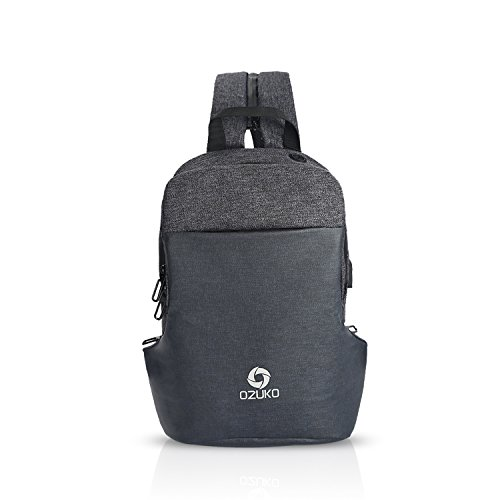 555275d7fc91 FANDARE Casual Sling Bag Hombres with USB Charging Port Earphone Hole  Mochila Outdoor Viaje Sport Riding Bolso de Hombro Impermeable Poliéster  Negro
