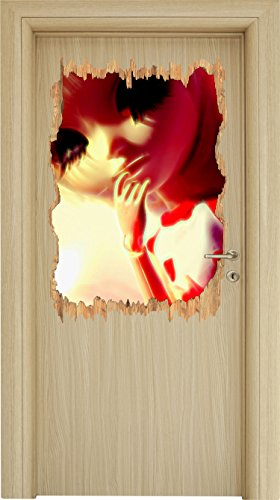 hübsches Pullip-Püppchen mit sehr langen Wimpern Holzdurchbruch im 3D-Look , Wand- oder Türaufkleber Format: 92x62cm, Wandsticker, Wandtattoo, Wanddekoration (Zeit T-shirt Garage)