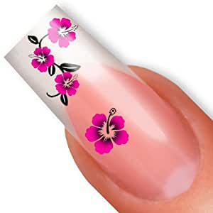 nailart nail tattoo sticker hibiskus bl te blume pink beauty. Black Bedroom Furniture Sets. Home Design Ideas