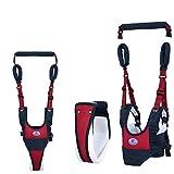 4-en-1 Harnais de Sécurité Pour Bébé -Porte bébé aide à la marche - Bretelle premier pas, Laisse pour tout-petit, Marcheur de sûreté infantile (Rouge-Bleu)