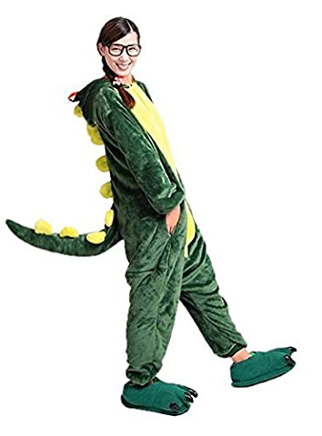 LATH.PIN Jumpsuit Tier Karton Fasching Halloween Kostüm Sleepsuit Cosplay Fleece-Overall Pyjama Schlafanzug Erwachsene Unisex Lounge Nachtwäsche S/M/L/XL (L, Dino)