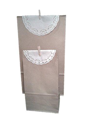 Bolsa Kraft con blonda y pinza, para regalos (12 uds) -bautizo, comunión
