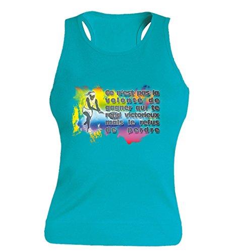 "T-shirt Femme 100% Coton - ""Tennis"" - Sans Manches Bleu"