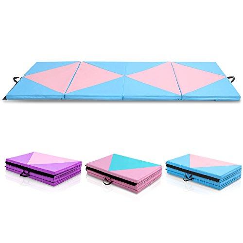 COSTWAY Weichbodenmatte Gymnastikmatte Yogamatte Turnmatte Klappmatte Fitnessmatte klappbar tragbar...