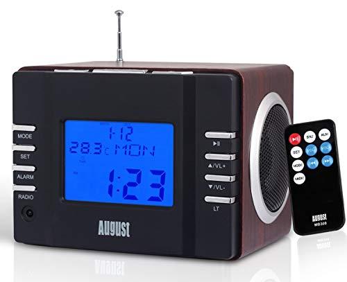 August MB300 Radiowecker FM Uhrenradio mit MP3 Player Stereoanlage Thermometer SD, 3.5 Line - In Buchse - Alarmton per Radio MP3 oder einfachem Alarmton Sleep Timer Infrarotfernbedienung braun-schwarz