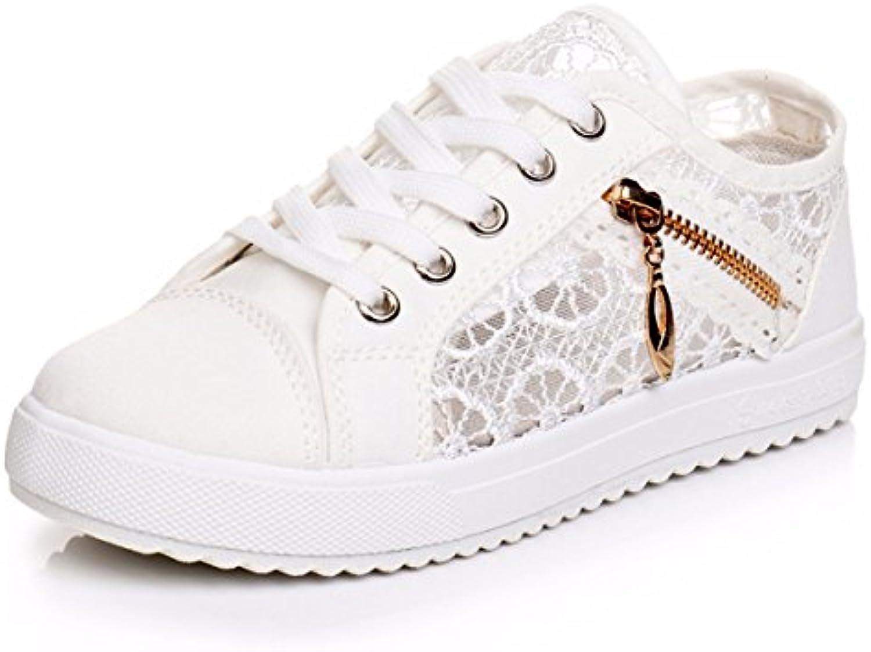 GTVERNH Zapatos de mujer/Verano/Malla transpirable Zapatos de lona Base Plana Estudiante Malla, negro, 36 -