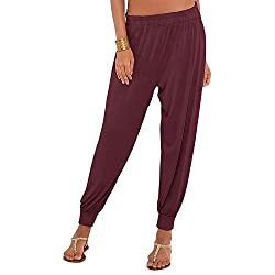 GO COLORS Womens Solid Harem Pant (200994789_Maroon)