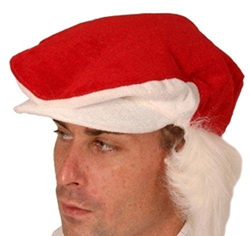 Santa Hat Peak Cap Red & White Fur Hair -