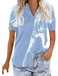 b793fd8f1aea SANFASHION Chemise Femme Doux Chic Manche Longue Boutton Poche Casual Shirt  Col V Tee Top Travaille