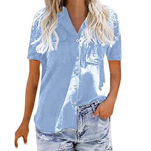 BaZhaHei Top Damen Bluse Revers Kragen Hemdbluse V Ausschnitt Lose Button Blusen Einfarbig Business mit Knopfleiste Hemd Oberteile Elegant Herbst und Mode Sommer T-Shirt Top (XL, Blau) -