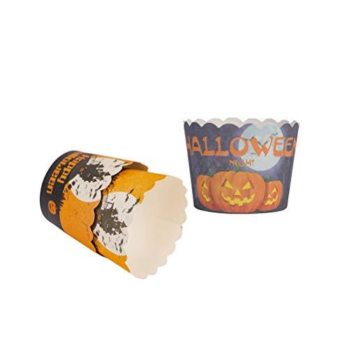 Fenical 100 Stücke Cupcake Muffin Wrapper Papier Halloween Hitzebeständige Dessertschalen Party Supplies