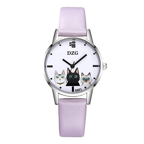 ICNCVKX Quarzuhr für Fraue,Einfache Unisex-Uhr,Jugendlich Mädchenuhr,Einzigartige süße Brille Katze,Lässige Elegante Uhr der Frauenuhr,Rundes Zifferblatt Lederarmband (Lila)