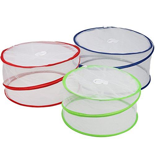 COM-FOUR® 3x Lebensmittel Abdeckung, Speiseschirm in verschiedenen Farben, Insektenschutzhaube in verschiedene Größen (03 Stück - blau/rot/grün)