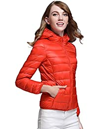 CHERRY CHICK Women's Light Weight Down Puffer Jacket with Hood (Plus Size Available)