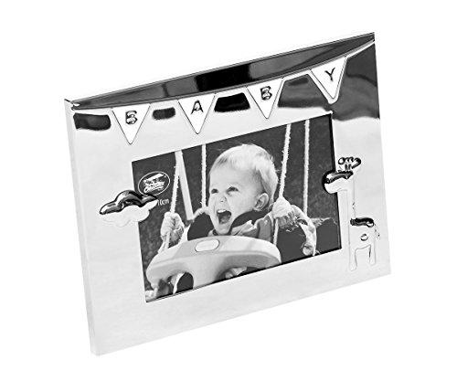 Brillibrum Bilderrahmen Baby Fotorahmen Gravur Taufgeschenk Geschenk Geburt Taufe Silber Kind Junge Mädchen Foto Rahmen (Rahmen mit Gravur bis 15 Zeichen)
