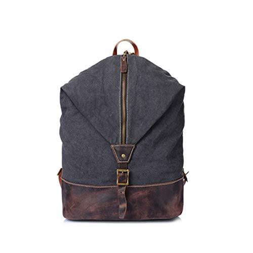UICICI Männer/Frauen Rucksack Daypack Wasserdichte Vintage Reißverschluss Leinwand Eimer Tasche Student Outdoor Shopping (Farbe : Dunkelgrau)