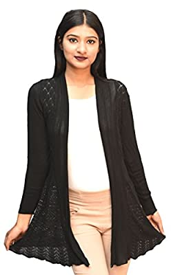 Otia Women's Net Long Sleeves Shrug(OT_woolen_Shrug, Black, Free Size)
