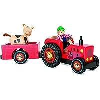 Trecker mit Anhänger Holz Traktor Bulldog Auto Bauernhof Spielzeug für Kinder Bauernhof