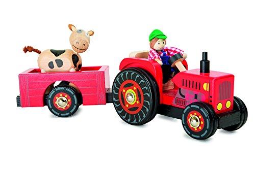 """Traktor mit Anhänger \""""Bauernhof\"""" aus Holz, Bauer und Kuh sind Biegepüppchen mit beweglichen Gliedern, Gummibereifung sorgt für leise Laufgeräusche, für Kinder ab 3 Jahren"""