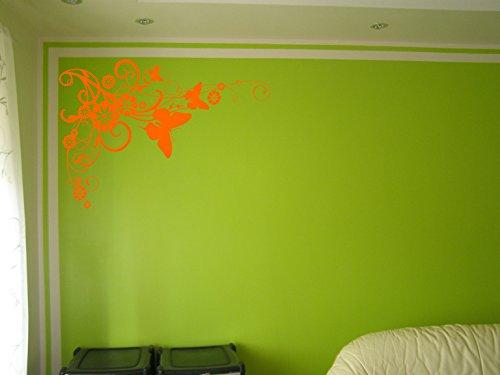 Vine Grafiken (Vinyl Schmetterling Blumen Vine Art Wandtattoo Aufkleber Wohnzimmer Schlafzimmer Wand Bordüre Decor Orange)