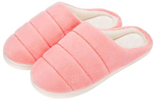 Zapatillas de Casa Invierno para Mujer Zapatillas de Estar en Casa con Suela Antideslizante - Comodas y Calentitas,Rosado 35EU/36-37CN