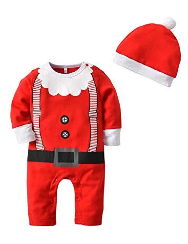 BESBOMIG Kleinkind Säugling Jungen Mädchen Kleidung Set - Lustiges Weihnachten Spielanzug Baby Pyjama Strampler Kostüm Nachtwäsche Overall mit Hut (Kleidung Weihnachten Für Kinder)
