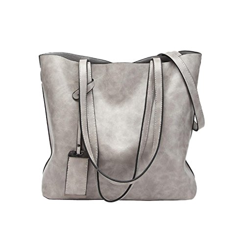 Damen Retro Casual Fashion Leder Handtasche Schultertasche Messenger Bag Umhängetasche Shopper Langlebig Staubbeutel für Travel Tägliche Arbeit grau 32cm(L)*13cm(W)*28cm(H) (Geldbeutel Staubbeutel)