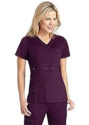 Adar Medical Uniforms Pop-stretch Junior Fit Taskwear Tab-waist Crossover Scrub Top Hospital Workwear - 3200 - Plum - S