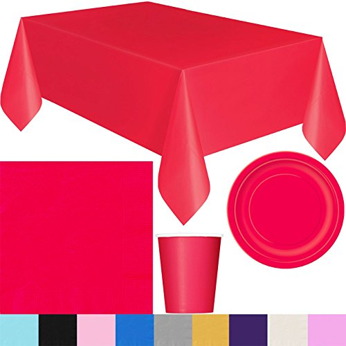 "PARTY COLLECTION BASIC PLAIN TABLE COVER PLATES CUPS NAPKINS BIRTHDAY PROM NIGHT[Ruby Red 9"" Plates,Pack of 16]"