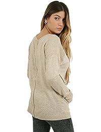 Sunshine - Pull en laine avec fermeture éclair dans le dos - Femme