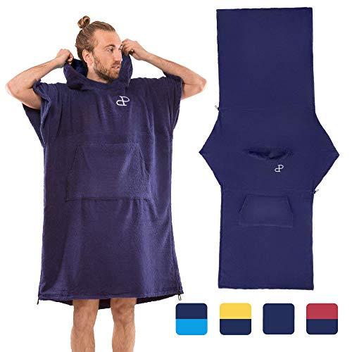 Mit Kapuze Surf Poncho Cabrio in Strandtuch mit Tasche und Ärmeln, Baumwolle, Wickelkleid für Erwachsene, Super saugfähig, Handtuch-Hoodie-Reißverschluss, Herren und Damen, Wassersport dunkelblau